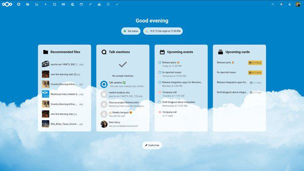 Nextcloud, Dashboard